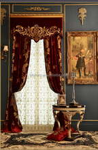 Palace Luxury Gold and Red Elegant Embroidery Ready Made Curtain For Receiption Room