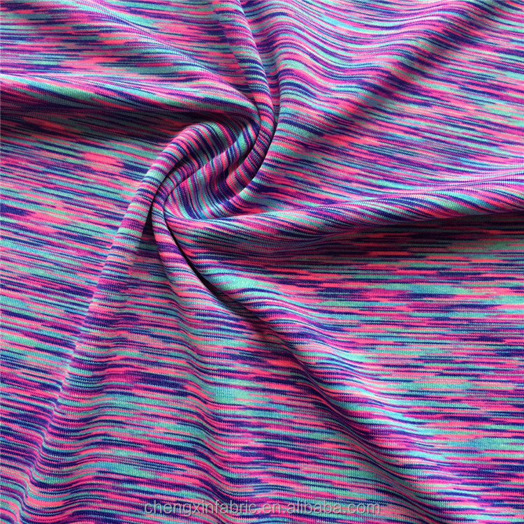 colorful space dyed cationic polyester spandex single jersey knit fabric for yoga wear