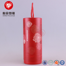 Custom Red Glossy Cylinder Round Paper Empty Glass Bottle Tube