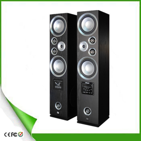 "2.0 Active Home Theatre Tower Speaker with USB/SD/FM/Bluetooth/Wireless MIC docking 1""/8""*2"