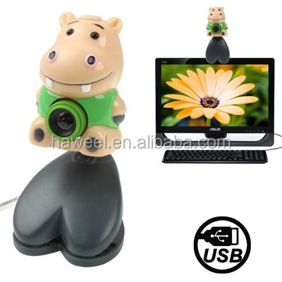 USB 2.0 Cartoon Hippo Style 0.48 Mega Pixels Driverless PC Camera / Webcam, Cable Length: 1.2m