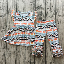 wholesale childrens flutter dress top with icing pants outfit baby girls cute pumpkin printed halloween cotton clothing set