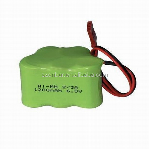 Can be customized 6.0v 1200mah nimh rechargeable battery pack 2/3A size