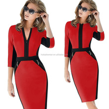 Autumn New Elegant Front Zip Design Patchwork OL Dress Bodycon Knee Length CF-W-L5634