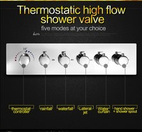 thermostatic shower valve diverter 5 way luxury shower mixer 6 handle control brass chrome high flow water bath faucet conceal T
