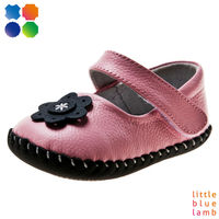 2013 Hot Cow Leather girl Baby Shoes with flower--BB-A3102-PK