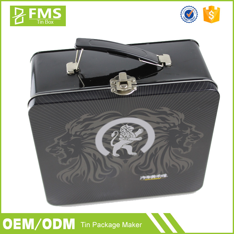 Customized Plain Black Metal Tin Lunch Box With Handle And Lock
