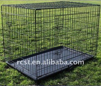 Collapsible metal pet dog cage crate