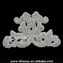 Wholesale sliver crystal clear diamond rhinestone applique embellishment for wedding dress