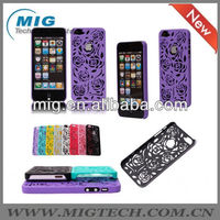Hot selling hollow rose hard case for iphone 5, for iphone case prevail for iphone 5S