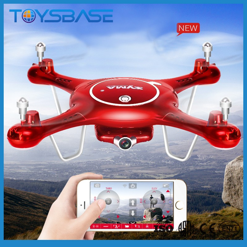 Newest 720P WIFI FPV 2MP HD Camera Helicopter Height Hold One Key Land 2.4G 4CH RC Quadcopter X5UC X5UW Drone SYMA