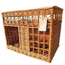 Deluxe pet nest Cat bed with cushions and small windows Hand woven wicker basket pet nest
