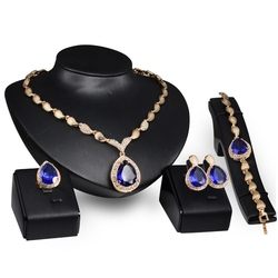4pcs Personalized Design Capri Blue Stone Gold Plated Alloy Bridal Accessories Stylish Nigerian Wedding Jewelry Set