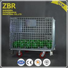 Collapsible Stackable Metal Crates Galvanized Wire Mesh Storage Box Steel Pallet Cages