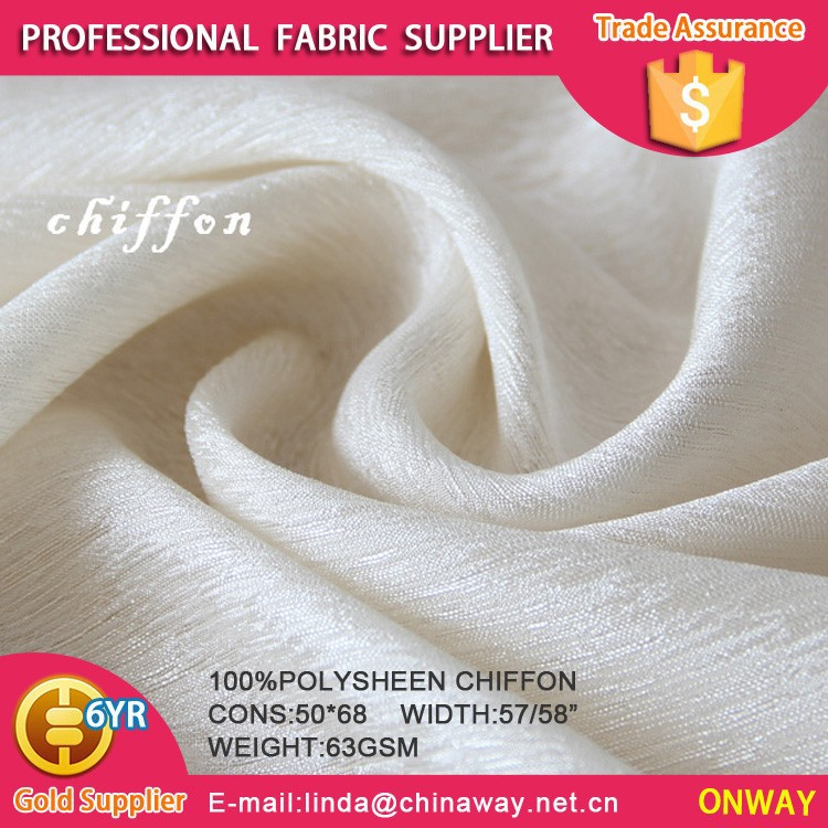 Onway textile crepe chiffon 2015 NEW crepe chiffon China source 100% polyester crepe chiffon fabric