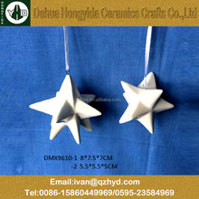 Hanging star ceramic christmas decorations