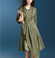 Wholesale Ball gown army green color slim long style women coat for fall season