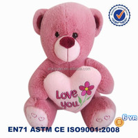 Cute custom logo plush bears pink teddy bear pictures with heart