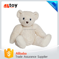 White Teddy Bear Stuffed Plush Animal With Movable Joints Arms And Legs
