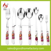 China steak knife ,fork,spoon White seramic with red flowers on handle stainless steel flatware TC01