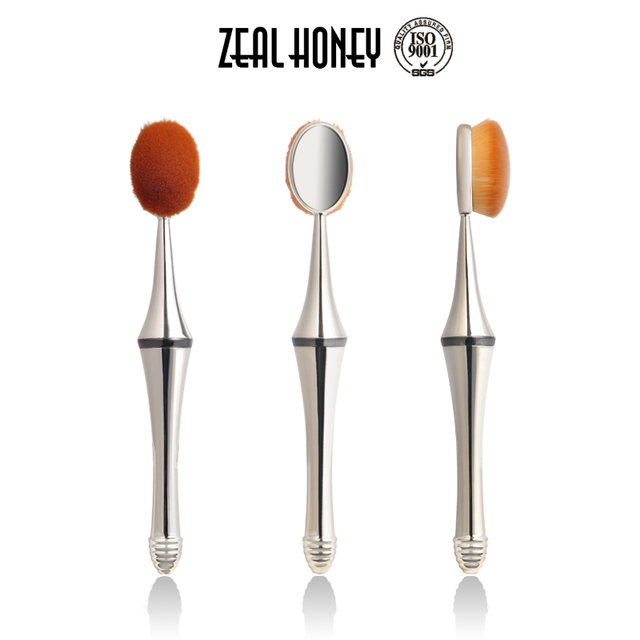 Zealhoney High Quality Detachable Magnet 3Pcs Oval Makeup Brush with Cosmetic Sponges China Brush Supplier