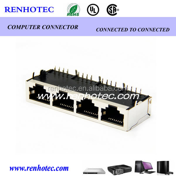 DSL <strong>1</strong> X 4 Port Modular RJ45 Jack Receptacle for Ethernet Cable Rohs Compliant