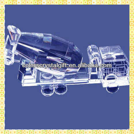 Handicraft Antique Crystal Mixer Truck Model For Business Annual Souvenirs