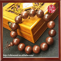 15mm Red Sandalwood Beaded Bracelet 15 Big Beads Male and Female