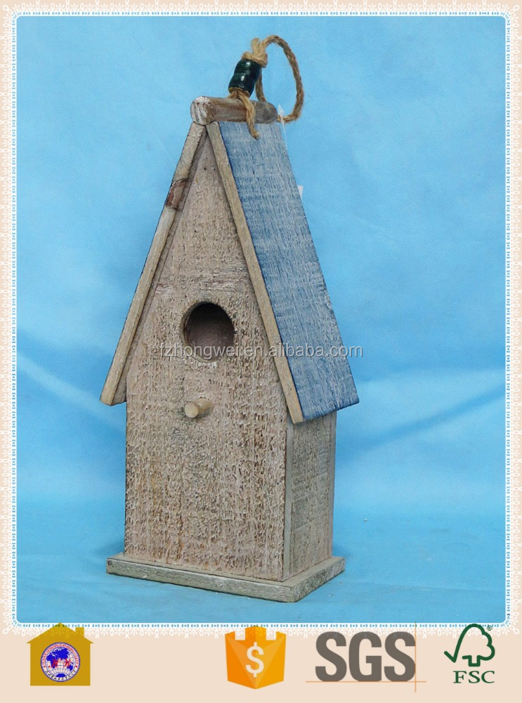 cheap shabby chic small wooden crafts bird house for home&garden decor. HW15A00403