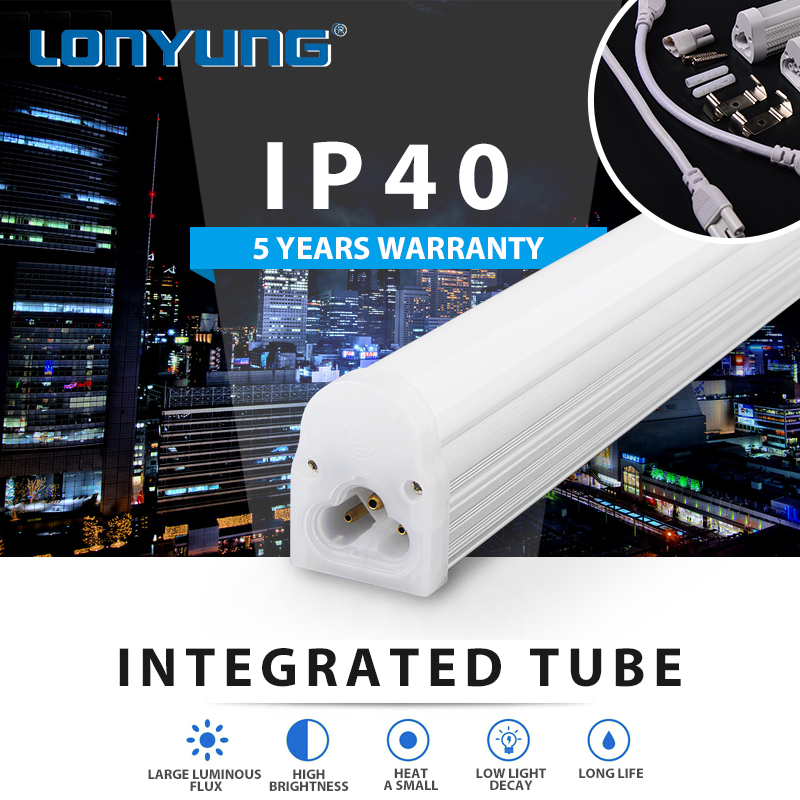 decorated integration 18w led tube light t5 0.3m 0.6m 0.9m 1.2m from zhongshan led