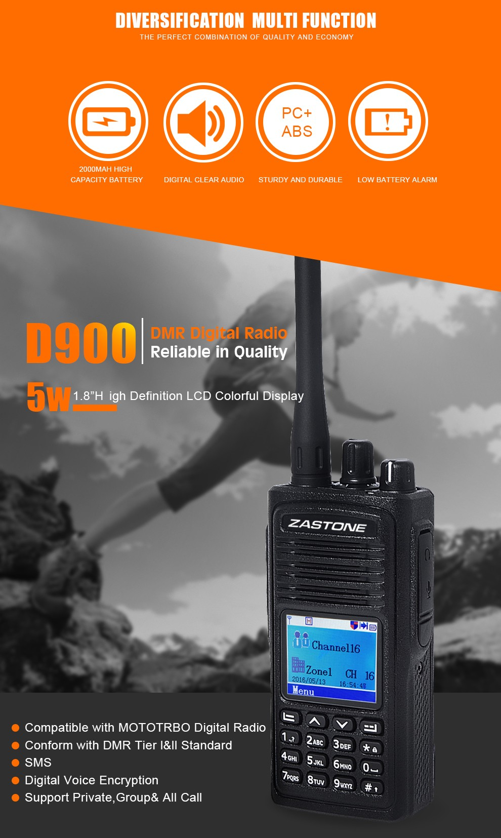 Compatible with MOTOTRBO/HYTRA new launch DMR digital handheld radio UHF400-480MHz ZASTONE D900