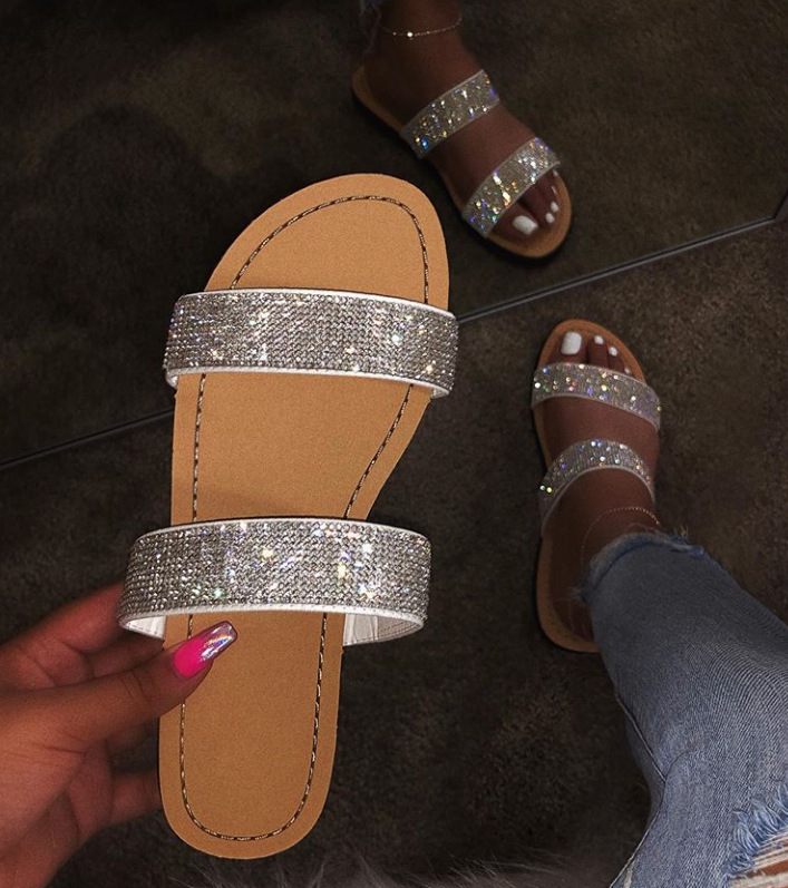 SD-<strong>050</strong> fashion sequined PU sole sandals PVC jelly transparent double strap glitter flat slipper sandals for women summer shoes
