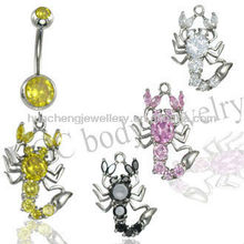 fashion stone navel belly ring with stainless steel body piercing jewelry