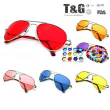 COLOR LENSES - Silver Metal Frame SUNGLASSES 70s Retro Cop Fashion