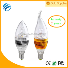Hot sale led electronic candle light gold/silver shell e14/e26 PF>0.94 aluminum with CE/RoHS certification