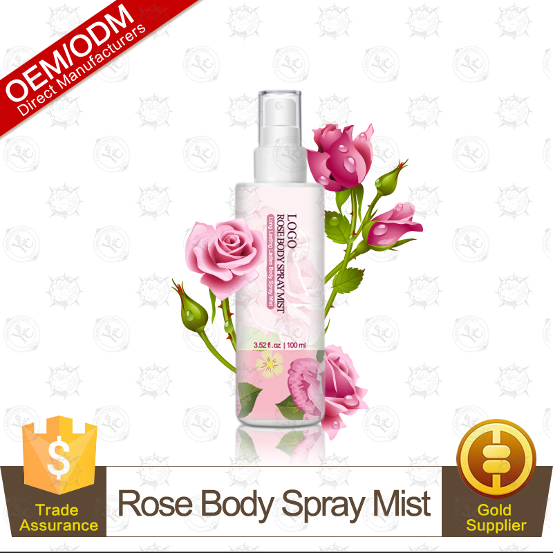 OEM Hot Selling Pure Natural Rose Antiperspirant Fragrance Mist(formerly known as body splash) 100ml