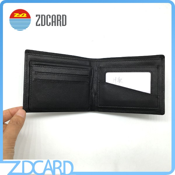 Gentleman black genuine leather rfid blocking wallet