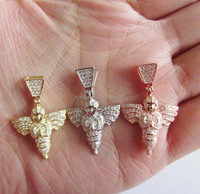 hip hop bling baby angel three colors micro pave mini men angel necklace