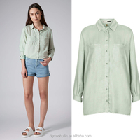 2014 women cotton linen long sleeve formal tops and blouse