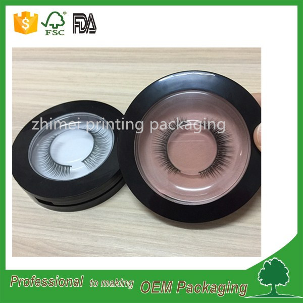 wholesale manufacturer circle shape eyelash plastic case eyelash packaging box with clear lid