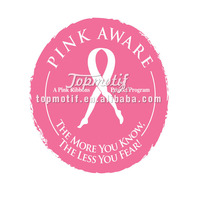 Custom ribbon iron on pu transfer printing for breast cancer