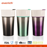 Everich 14oz / 400ml Colorful Double Wall ceramic mug without handle