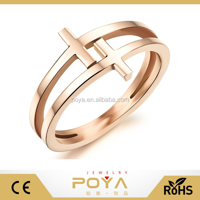 POYA Jewelry Simple Wedding Ring Designs Fashion Wedding Engagement Ring 18K Rose Gold Plated Stainless Steel Double Cross Ring