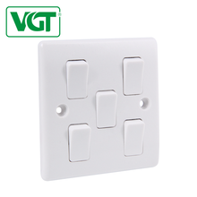 Low maintenance cost High Quality 5 Gang 1 Way Wall Switch British Standard