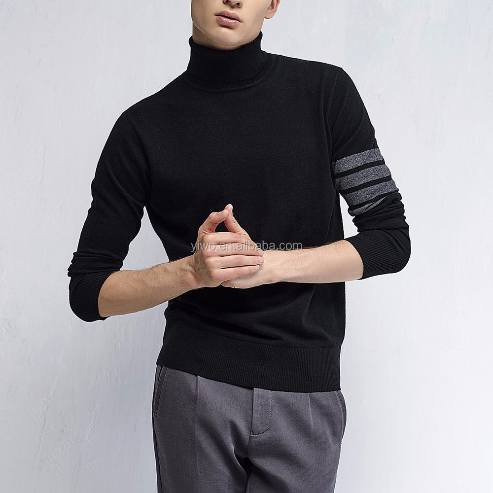 Plain knitted turtle neck high neck men cotton pullover sweater