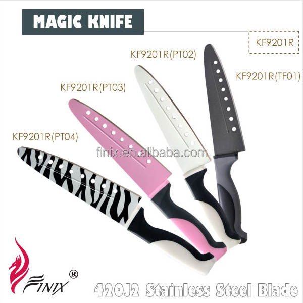 Japanese Stainless Steel Blade Colored Non-Stick Coating Kitchen Chef Magic Knife