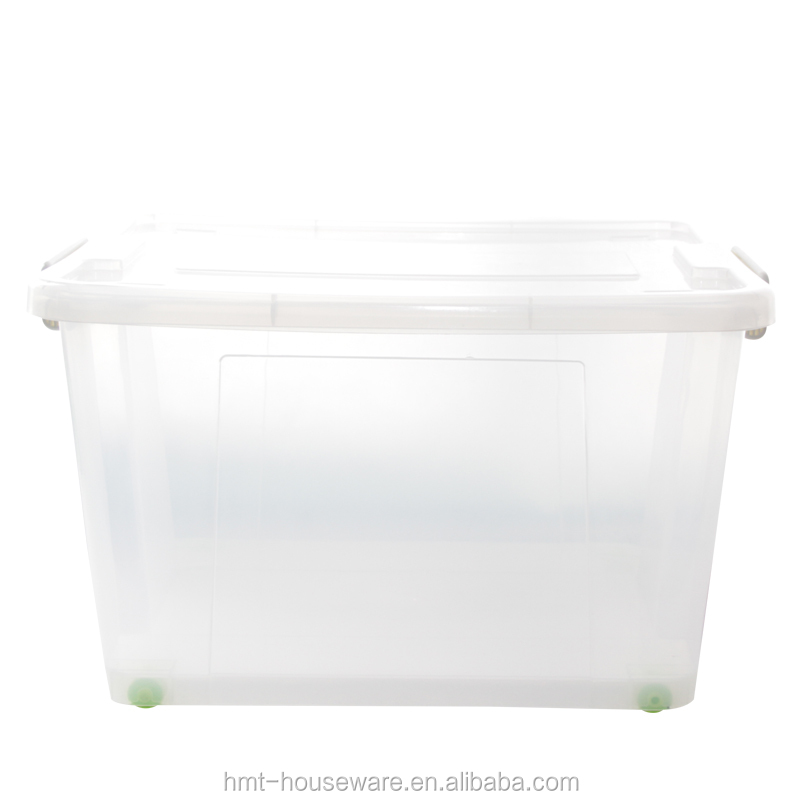 86L pp wholesale household large box plastic container storage plastic box container plastic storage box wheels for clothes
