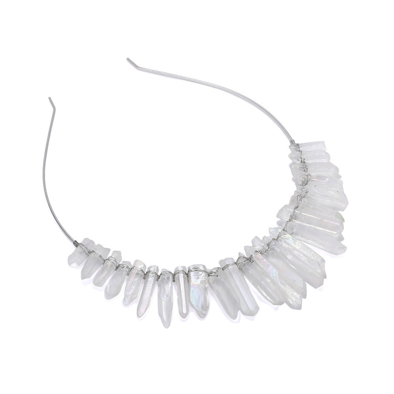 Fashion healing stones angel aura quartz loose bead crystal points hair band jewellery hair tiaras crown headband for women