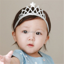 2016 Hot-sales fashion cute Baby crown elastic lace headband