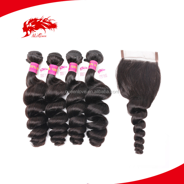 ALI Queen Retail 10A Best Quality Virgin Remy Loose Wavy Indian Hair Weft With Lace Closure